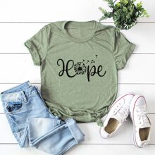 Dandelion And Letter Graphic Tee