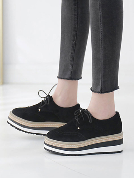 Milanoo Trendy Oxfords Chic Pointed Toe Suede Leather