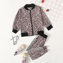 Jacke mit Streifen, Leopard Muster & Jogginghose