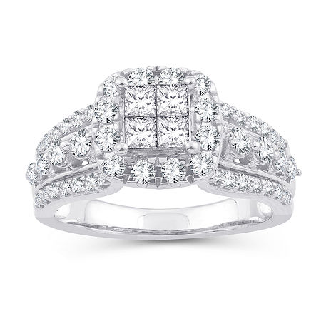 Womens 1 1/3 CT. T.W. Genuine White Diamond 10K White Gold Engagement Ring, 7 , No Color Family