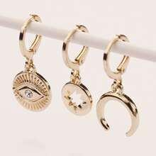 3 piezas set pendientes con diseño de ojo y luna