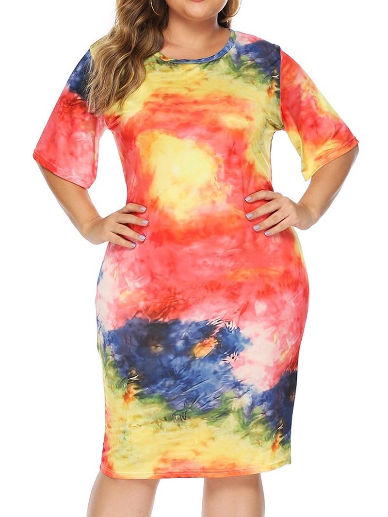 Ericdress Half Sleeve Tie-Dye Mid-Calf Date Night/Going Women's Dress
