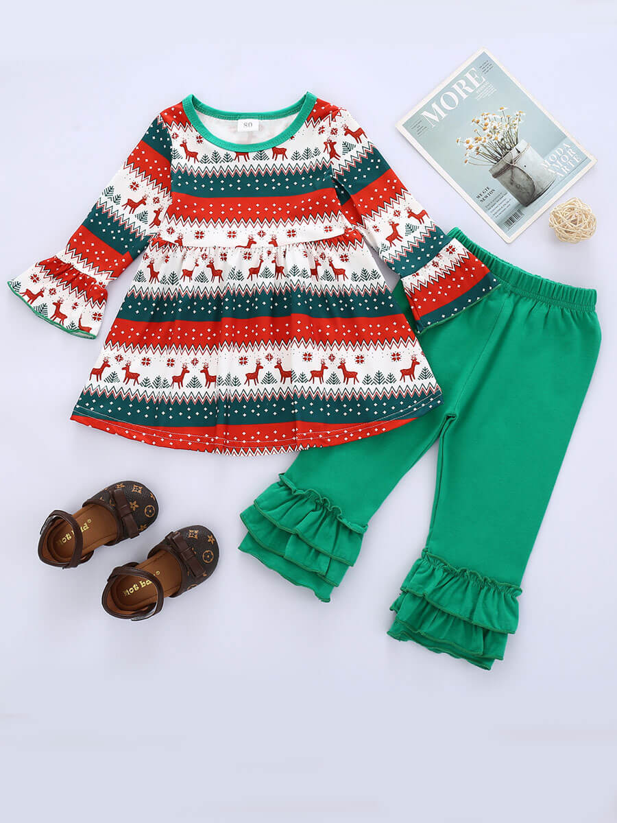 LW Lovely Sweet O Neck Print Green Girl Two-piece Pants Set