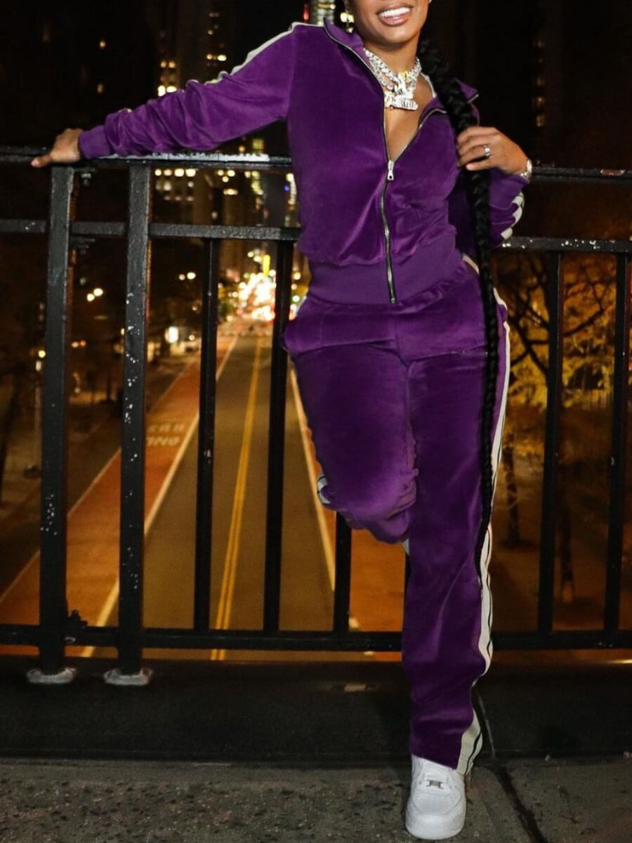LW Lovely Sportswear Striped Patchwork Purple Two Piece Pants Set
