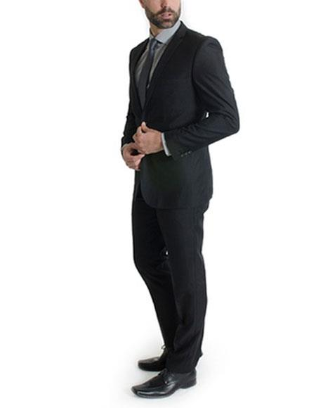 Men's Black Ticket pocket suit 1 button Slim Fit Suits