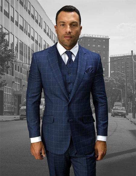 Men's Statement Plaid 2 Button Blue Double Breasted Vest Suit