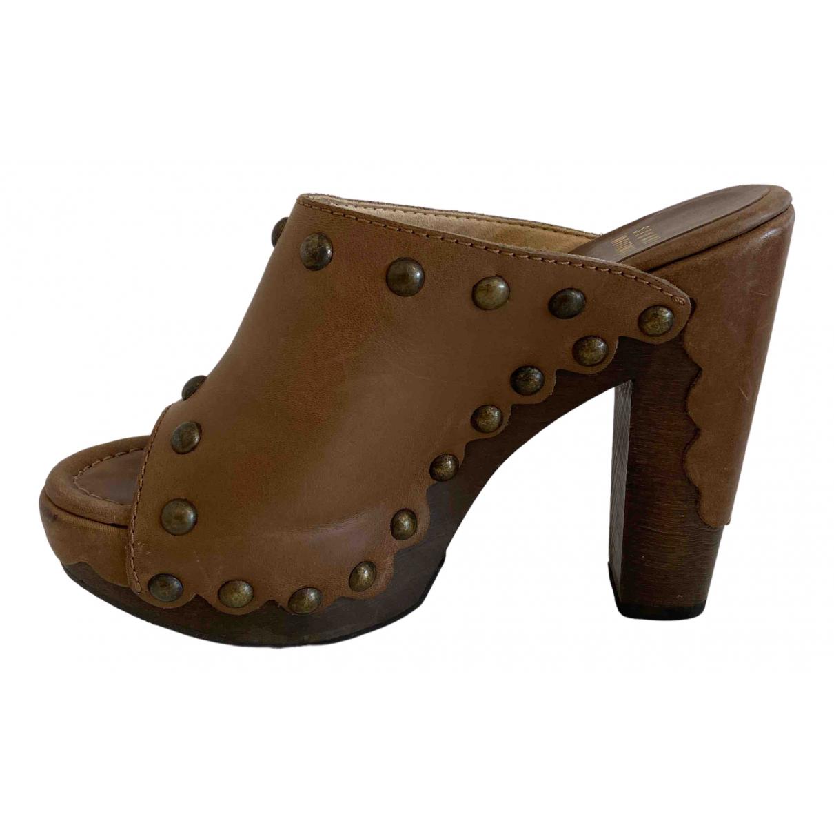 Stuart Weitzman N Brown Leather Mules & Clogs for Women 35.5 EU
