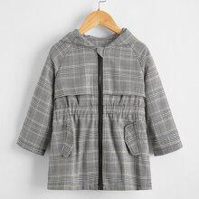 Toddler Girls Plaid Raglan Sleeve Coat