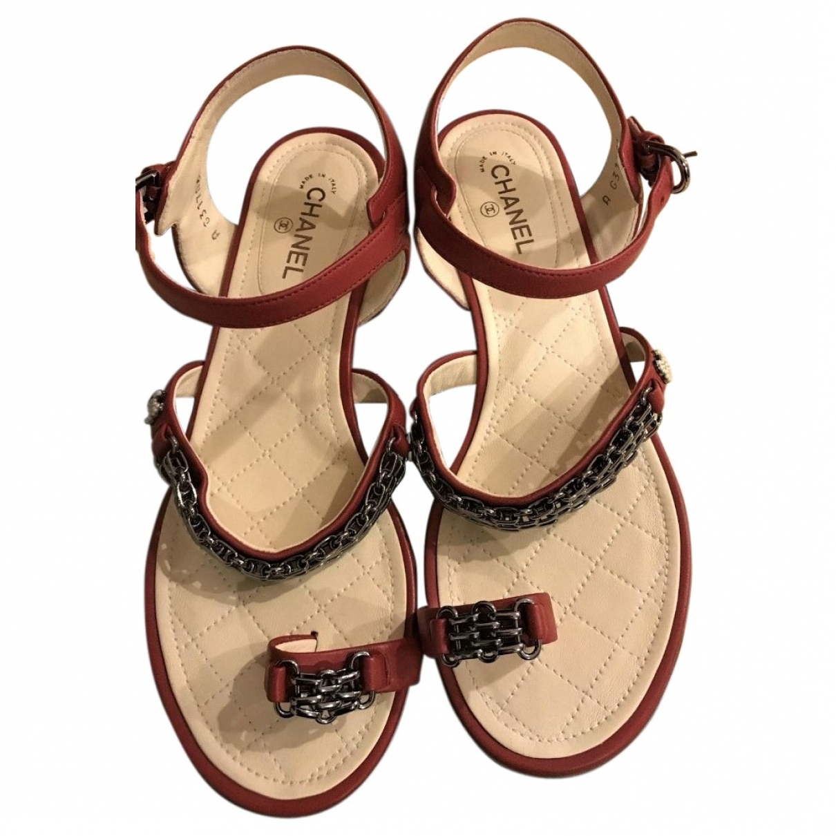 Chanel \N Red Leather Sandals for Women 38.5 EU
