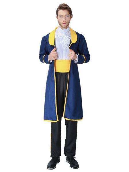 Milanoo Disfraz Halloween Disfraces de Halloween Camisa Prince Style para hombres Abrigo Azul Uniforme de tela Multicolor Disfraces de Halloween Carna