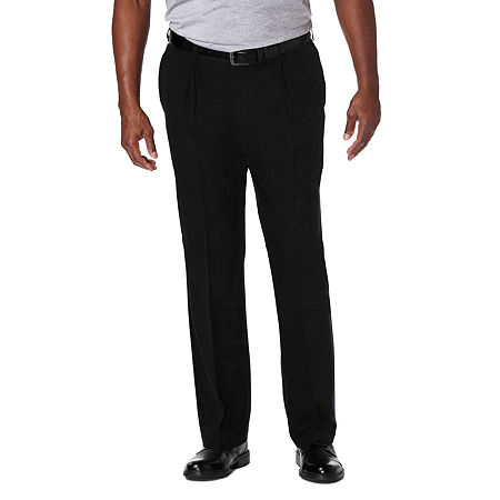 Haggar Cool 18 Pro Pleated Front Pant- Big & Tall, 50 30, Black