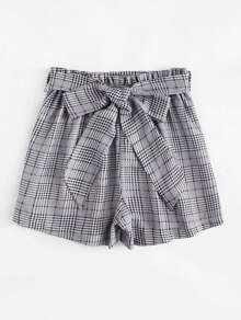 Shorts con cinturon de cuadros de cintura fruncido-grande