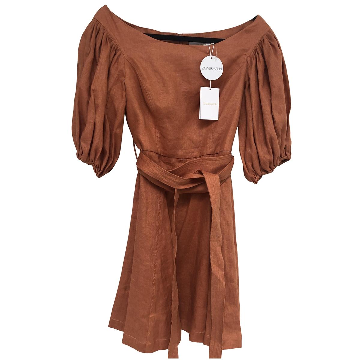 Zimmermann \N Kleid in  Orange Leinen