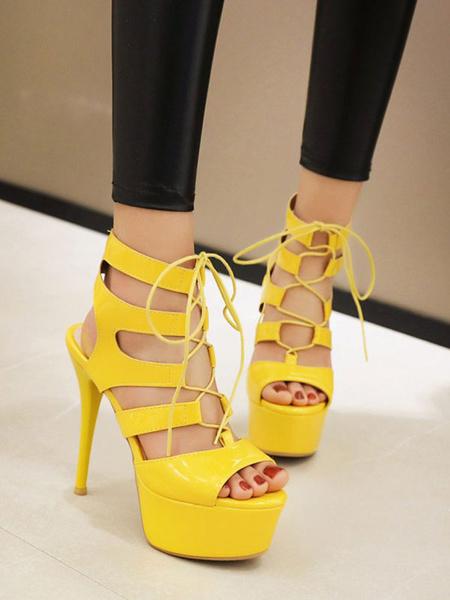 Milanoo Sandalias sexy para mujer Zapatos de punta redonda de cuero de PU verde sexy