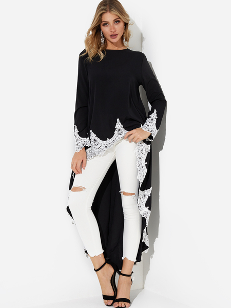 Yoins Black Lace Insert Irregular Hem Dress