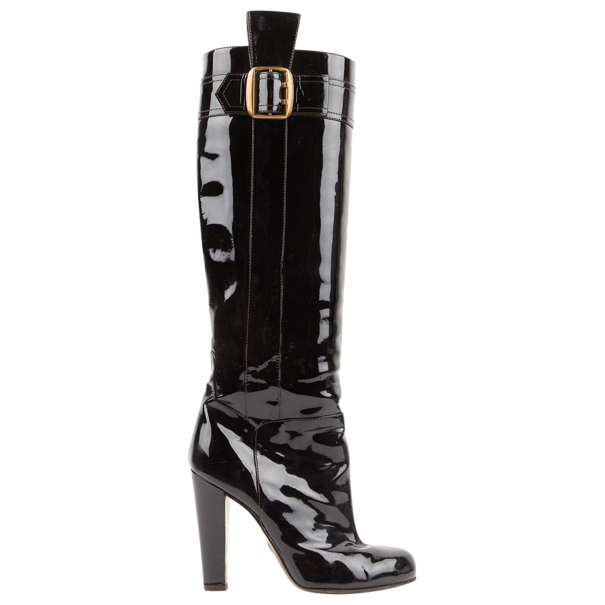 Dolce & Gabbana - Bottes   pour femme en cuir verni - noir