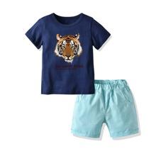 T-Shirt mit Tiger & Buchstaben Grafik & Shorts