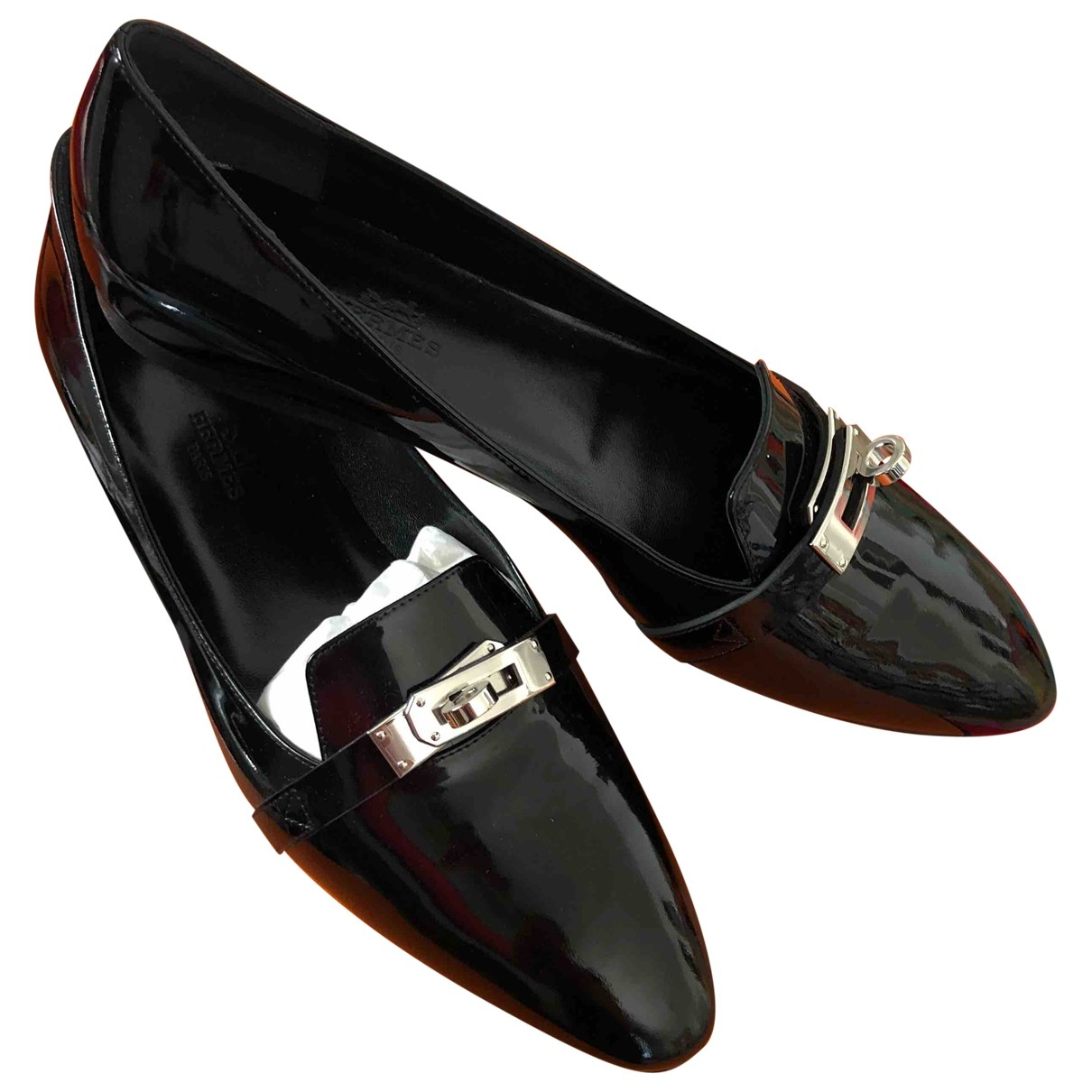 Hermès Pégase Black Patent leather Ballet flats for Women 38 EU