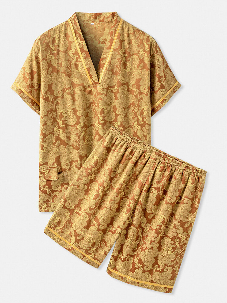 Men Yellow Print Pajamas Sets Two Pieces Short Sleeve Tops and Short Bottoms