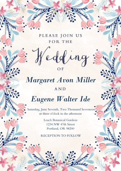 Wedding Invitations 5x7 Cards, Premium Cardstock 120lb with Scalloped Corners, Card & Stationery -Folk-art Floral