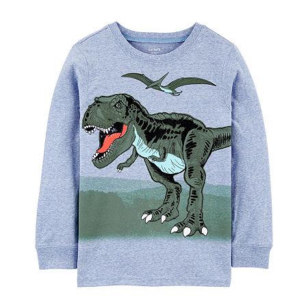 Carter's Dinosaur Little & Big Boys Round Neck Long Sleeve Graphic T-Shirt, 6 , Blue