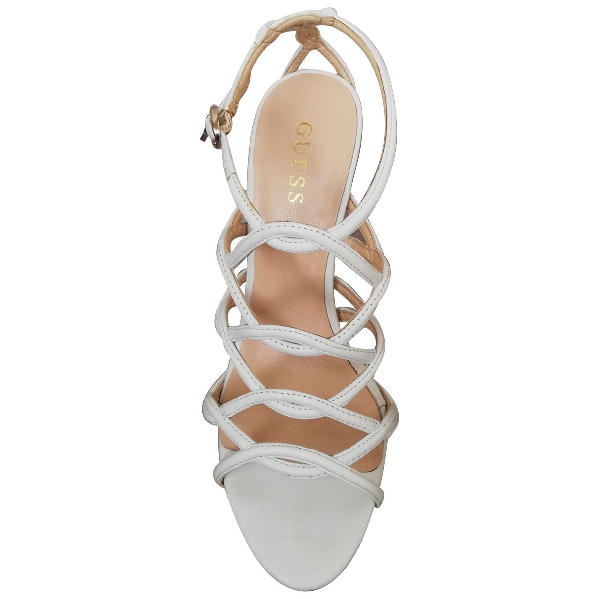 Guess - Sandales   pour femme en cuir - blanc