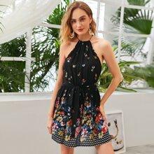 Kleid mit Blumen Muster und Guertel