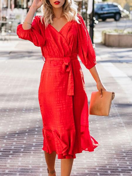 Milanoo Vestido ajustado rojo con cuello en v volantes Vestido de verano para mujer