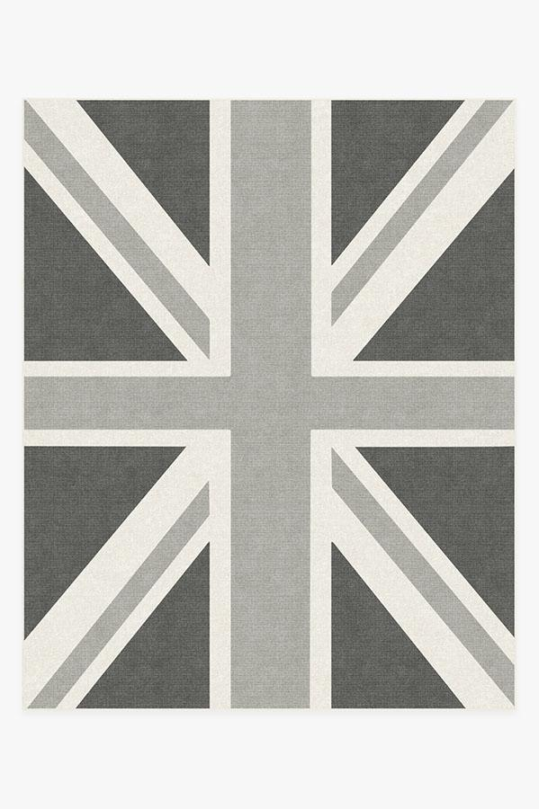 Washable Rug Cover & Pad | Union Jack Grey Rug | Stain-Resistant | Ruggable | 8'x10'