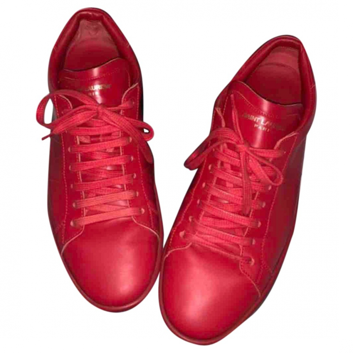 Saint Laurent Court Red Leather Trainers for Men 41.5 EU