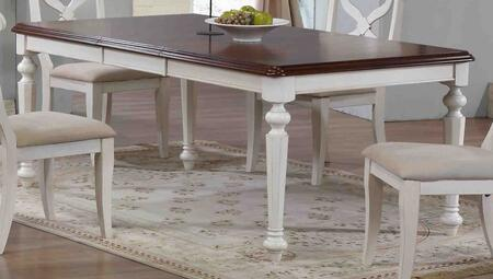 Andrews Collection DLU-ADW4276-AW 58 - 76 Dining Table with 18 Butterfly Leaf Turned Legs and Molding Details in Antique White with Chestnut