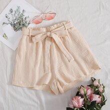 Paperbag Waist Belted Shorts