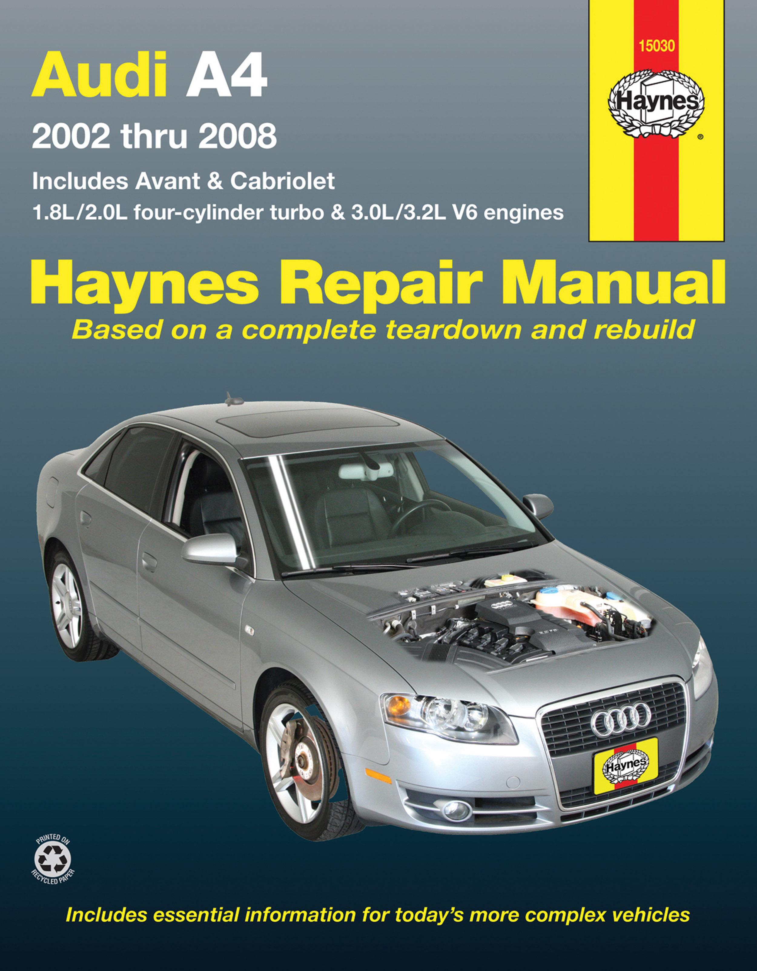 Audi A4 Sedan, Avant, & Cabriolet (2002-2008) Haynes Repair Manual