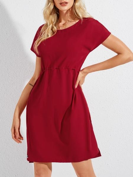YOINS Red Slit Design Drawstring Round Neck Short Sleeves Dress