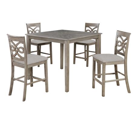 GL-3439 French Twist 5 Piece 42 Square Dining Table Set - Counter Height - Four Upholstered Stools  in Distressed