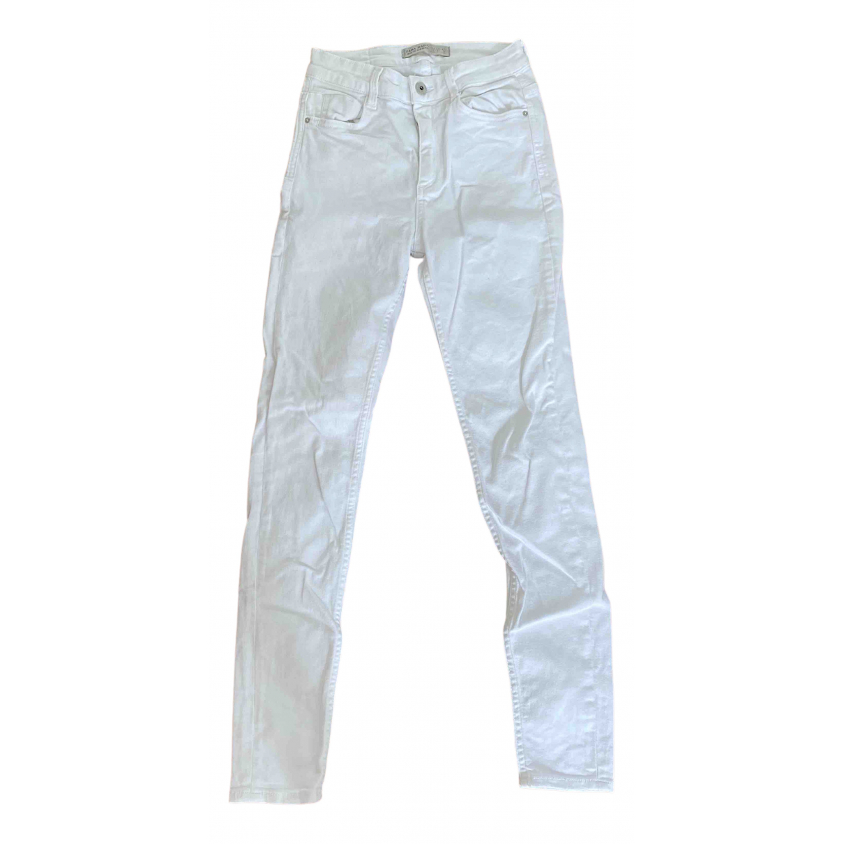 Zara \N White Cotton - elasthane Jeans for Women 34 FR