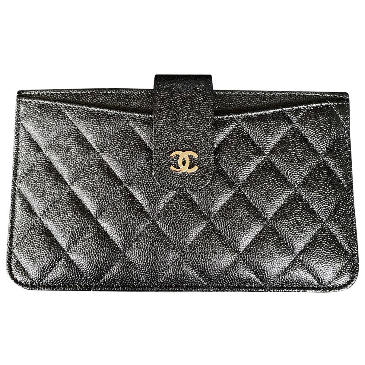 Chanel - Portefeuille Gabrielle pour femme en cuir - noir