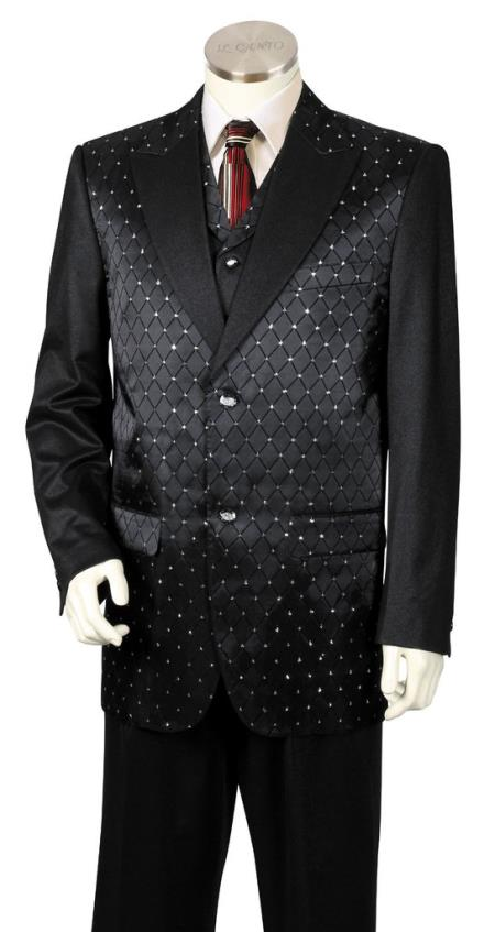 Mens Diamond Pattern 3pc Zoot Suit Black