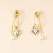 Rhinestone Decor Heart Charm Drop Earrings