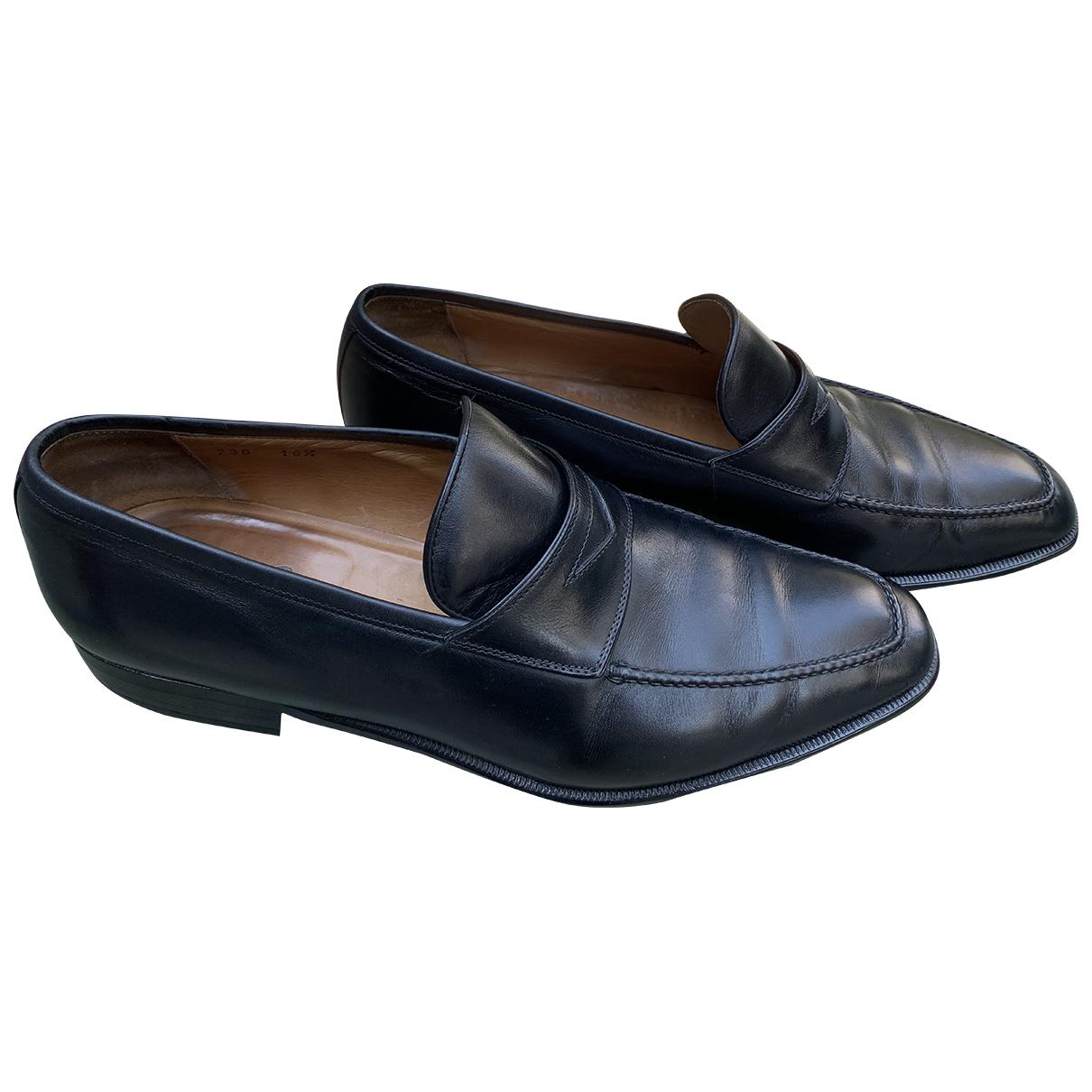Ermenegildo Zegna \N Black Leather Flats for Men 10.5 UK