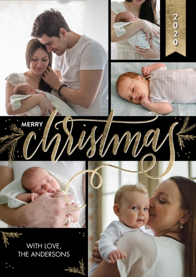 Christmas Photo Cards Flat Matte Photo Paper Cards with Envelopes, 5x7, Card & Stationery -2020 Christmas Gold Script Greeting by Tumbalina