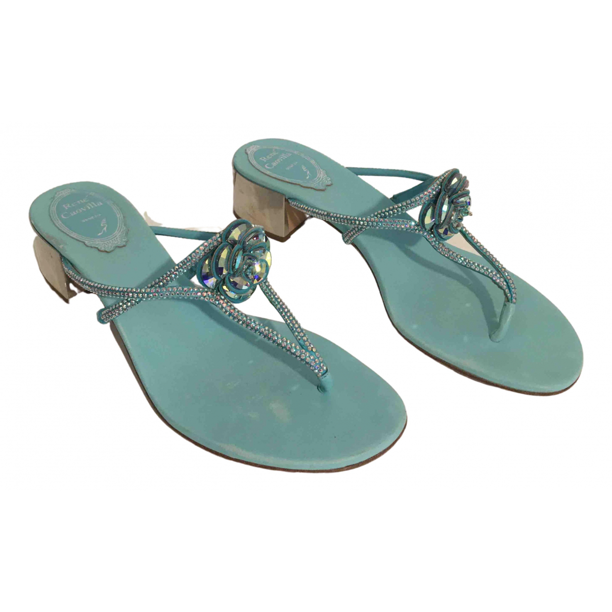 Rene Caovilla \N Green Glitter Sandals for Women 37.5 EU