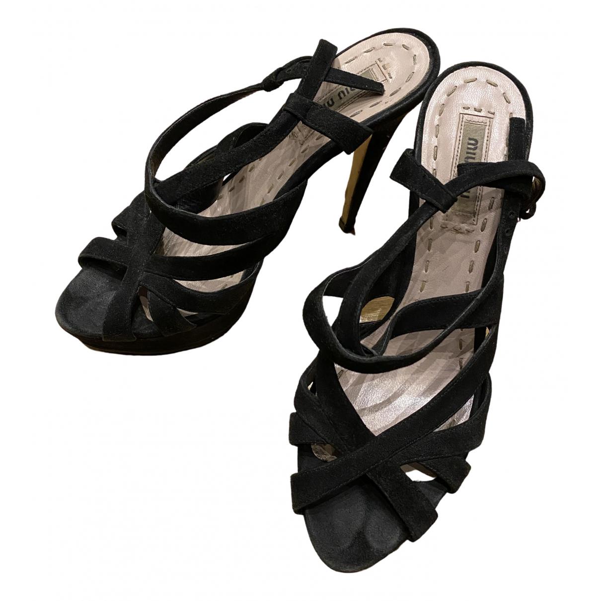Miu Miu \N Black Suede Sandals for Women 37.5 EU