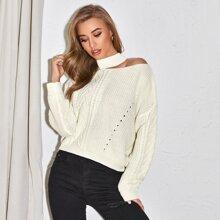 Mock Neck Cut-out Drop Shoulder Cable Knit Sweater