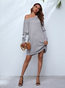 Batwing Sleeve Solid Sweater Dress