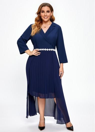 Contrast Notch Collar Plus Size Dress - 2X