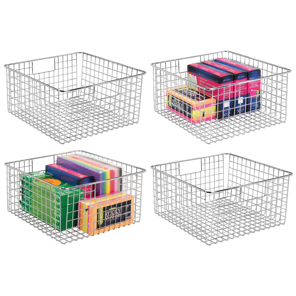 Metal Wire Office Storage Basket with Handles in Chrome, 12