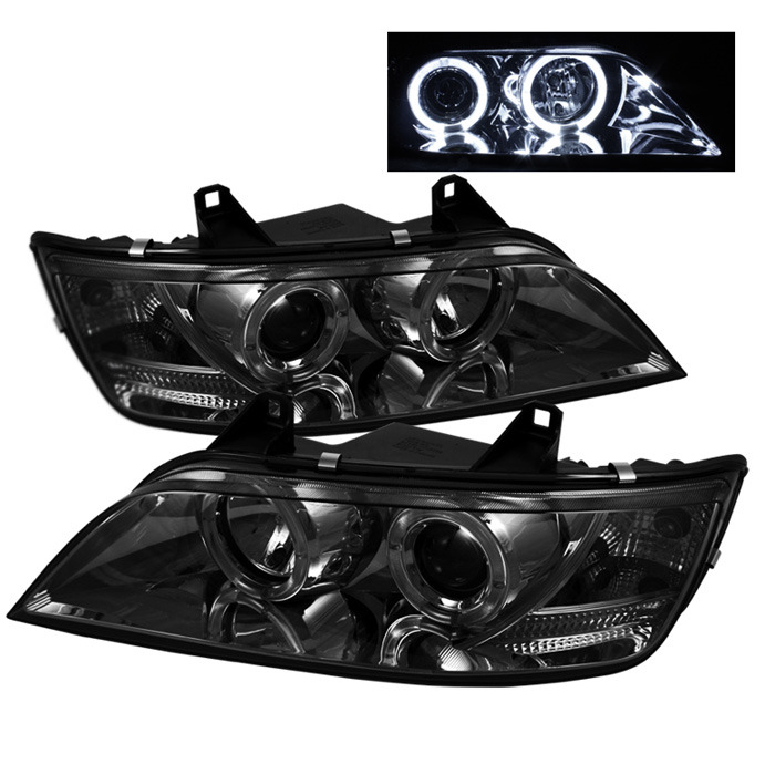 Spyder Auto PRO-YD-BMWZ396-HL-SM Smoke LED Halo Projector Headlights with High H1 and Low H1 Lights Included BMW Z3 99-02