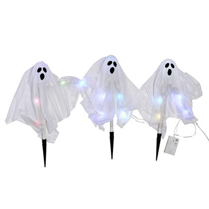 Halloween Pathway Marker with Flash Lights Batteries Included 3 x Ghosts 20