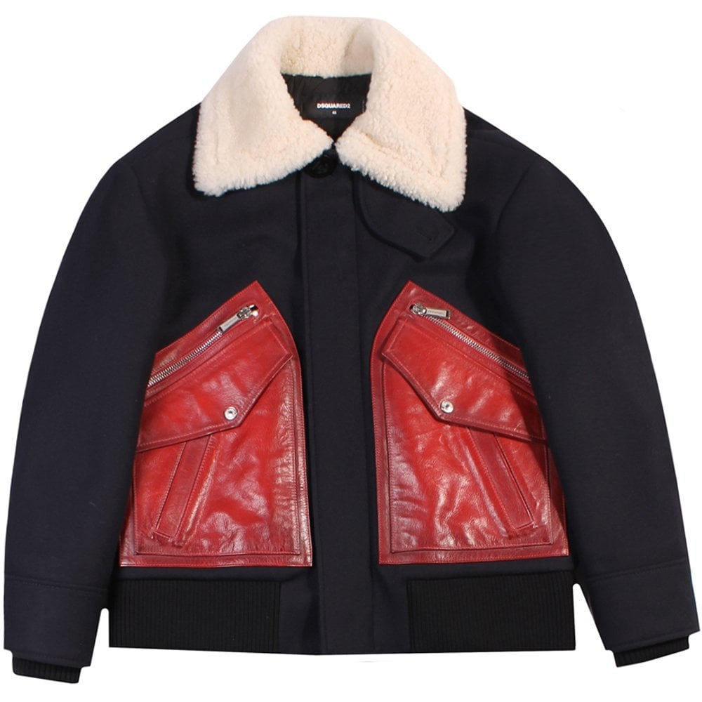 Dsquared2 Fur Jacket Navy Colour: NAVY, Size: EXTRA LARGE